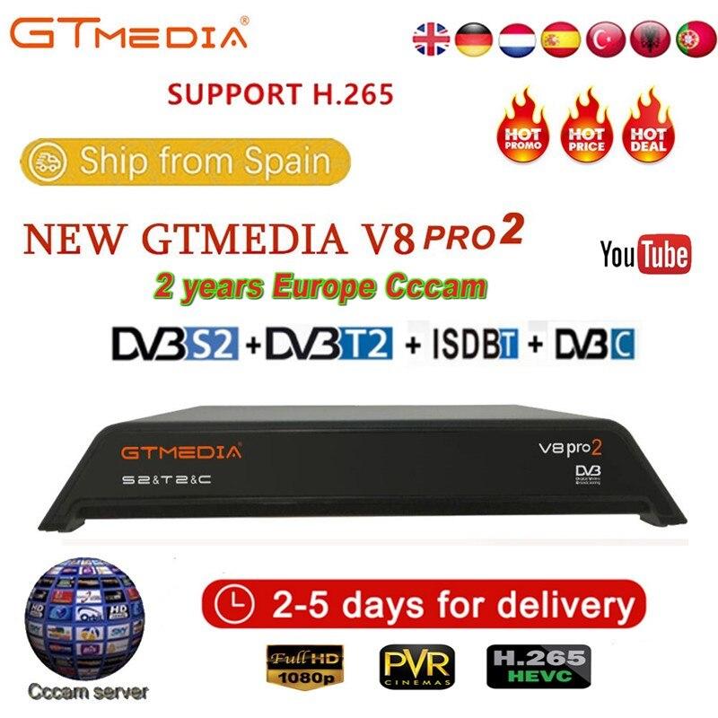 GTMedia V8 Pro2 DVB-T2/S2/Cable/S2X receptor de satélite H.265 WIFI incorporado 2,4G con 2 años Europa CCcam caja de TV IPTV gratis en el extranjero