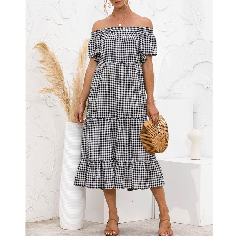 Elegant Plaid Print Off Shoulder Women Dress Summer Ruffles Loose Chic 2021 Holiday Short Sleeve Boho Midi Cake Sweet Dresses