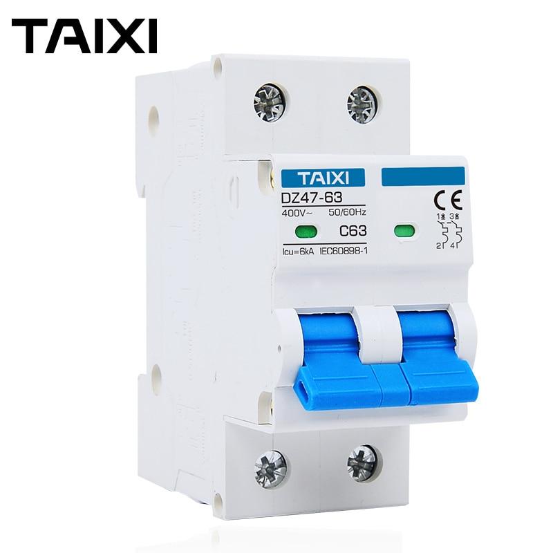AC Typ Circuit Breaker 2P MCB 6A 16A 20A 25A 32A Strom Schutz 230V 400V Spannung Kurze überlast Power