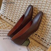 genuine leather pumps women square toe footwear shallow office shoes female fashion square heels 5 5cm woman autumn 2020 new