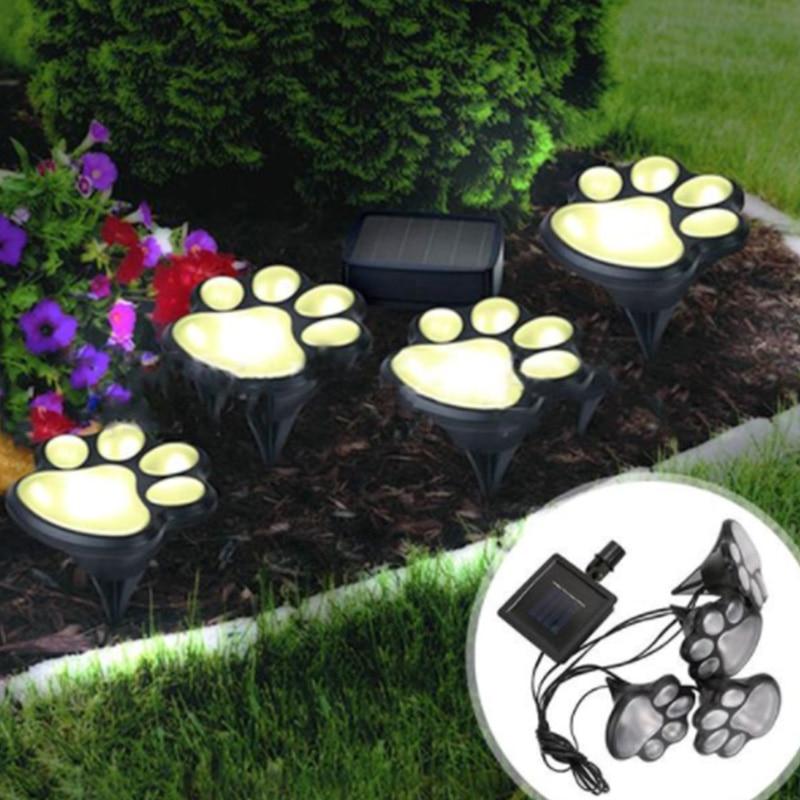 LED energía Solar Paw Dog Animal impresiones Luz Jardín exterior lámpara camino paisaje decorativo jardín luces energía Solar