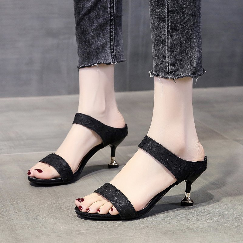 Sandals women wear high heels semi-trailers without heels 2021 summer new fashion casual word with slippers stilettos
