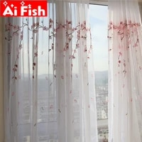 pink plum blossom semi sun shade balcony partition decorative window screen tulle embroidery curtains for living room my04550