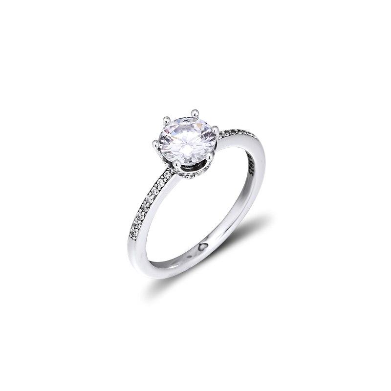 Corona de plata brillante 925 auténtica, anillos de plata para mujer, joyería DIY, anillo de compromiso para boda, regalo para fiesta, venta al por mayor