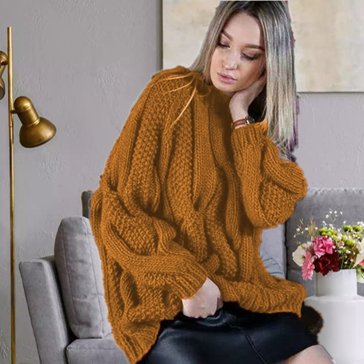 Hot-Selling Autumn and Winter Casual Sweater Women Fashion Round Solid Color Neck Pullover Sweater Knitting Tops Knit Clothes