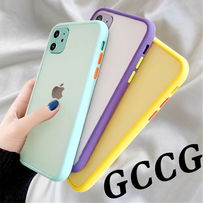 Mint Simple Matte Bumper Phone Case for iphone 11 Pro XR X XS Max 12 6S 6 8 7 Plus Shockproof Soft TPU Silicone Clear Case Cover