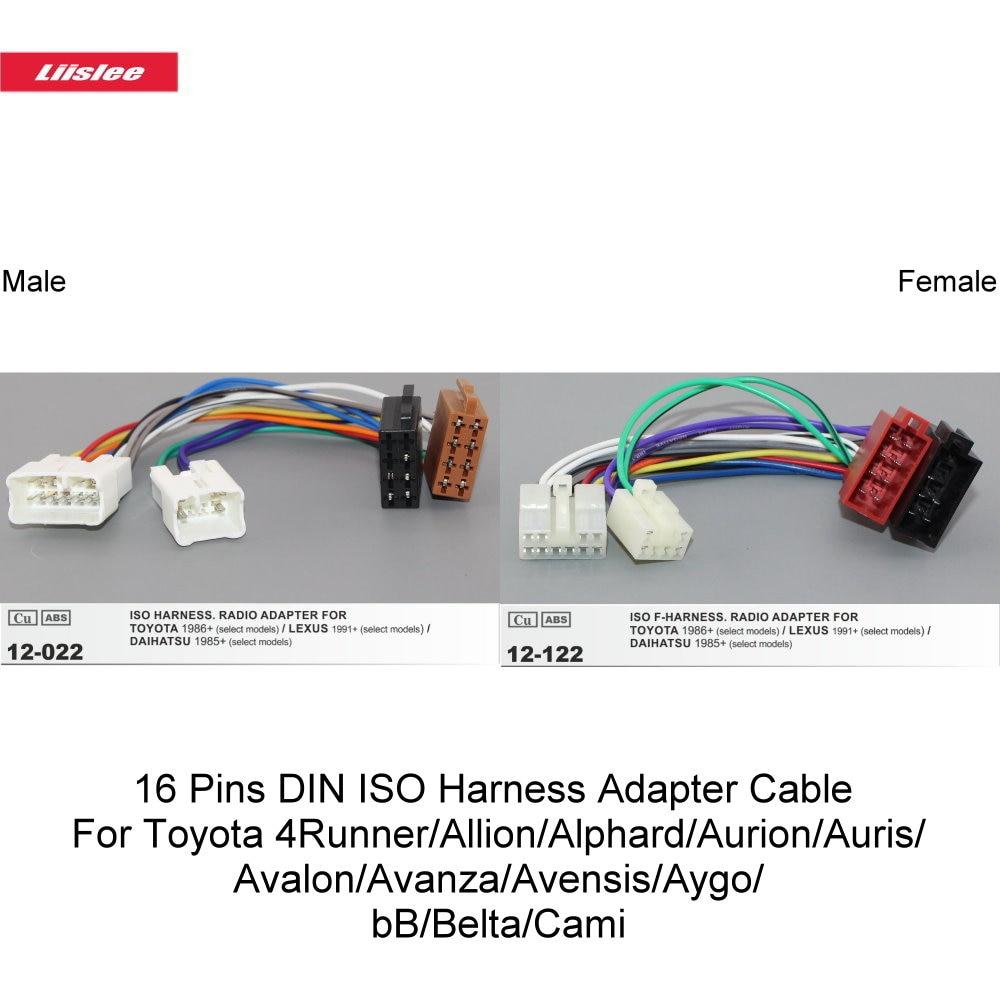 16 pines DIN ISO arnés de Cable adaptador para Toyota 4Runner/vitz/Alphard/Aurion/Auris/Avalon/Avanza/Avensis/Aygo/bB/Belta/Cami