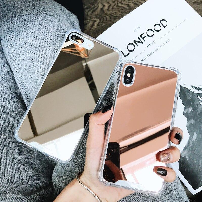 Funda Gasbag con espejo a prueba de caídas para iphone XR 7 8 XS MAX 11 Pro X 10 6 6S Plus 7Plus 8Plus, funda de teléfono de poliuretano termoplástico suave