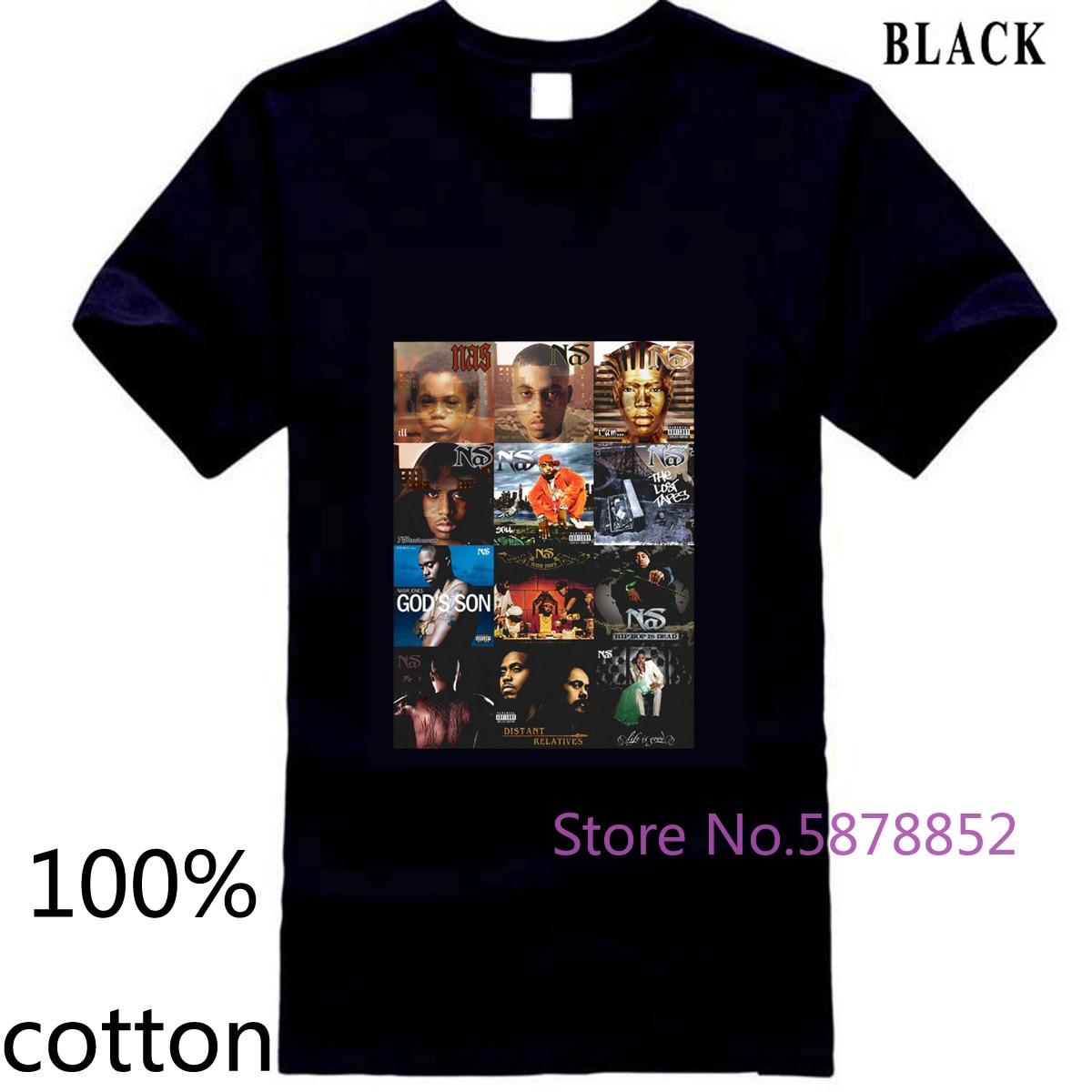 Cubiertas de álbum NAS DJ KHALED ILLMATIC FESTIVAL TRAP HIP HOP RAP PAC NY camiseta para hombre Camiseta tops camisetas 100% de algodón para hombre