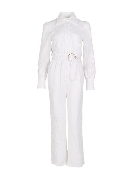 long sleeve Lace clouds Embroidery Rompers white Floral crochet white jumpsuit for women 2019 Summer short jumpsuits combinaison