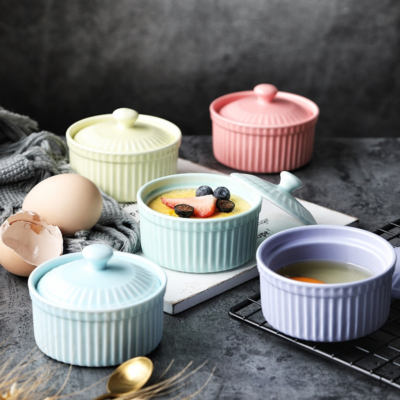 Ceramic Baking Bowl With Lid Pudding Baking Roast Steamed Egg Bowl Creative Baked Rice Steamed Egg Small Bowl dinner plates