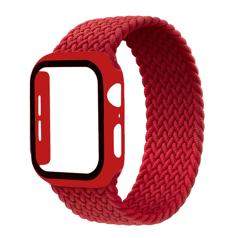 nylon braided solo loop for apple watch band 6 5 3 bands 44mm 40mm 38mm 42mm elastic strap bracelet for iwatch series 6 5 4 2 1 Braided Solo Loop Band For Apple Watch strap 44mm 40mm 42mm 38mm Elastic Nylon bracelet+PC Case iWatch series 6 5 4 3 se strap