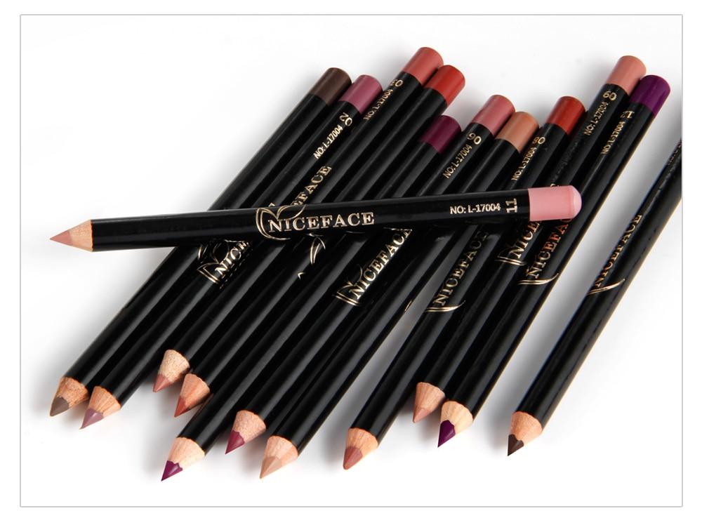 12 Colors Lip Pencils Matte Lipliner Waterproof Smooth Colorful Silk Nude Lipstick Pen Long Lasting