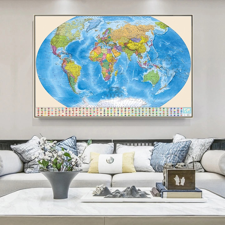 225*150cm In Russian The World Map With Flags Wall Art Poster Vintage Non-woven Canvas Painting  Living Room Home Decoration