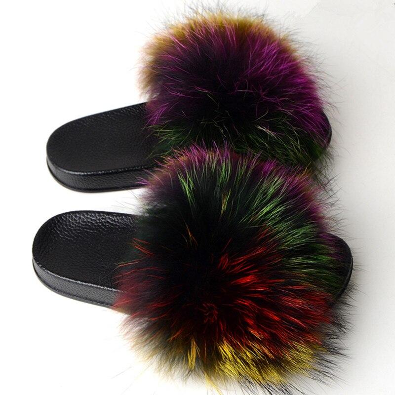 New Fashion Woman Real Fox fur slide woman summer indoor fur slipper woman non-slip warm fuzzy slipper fall transport slide