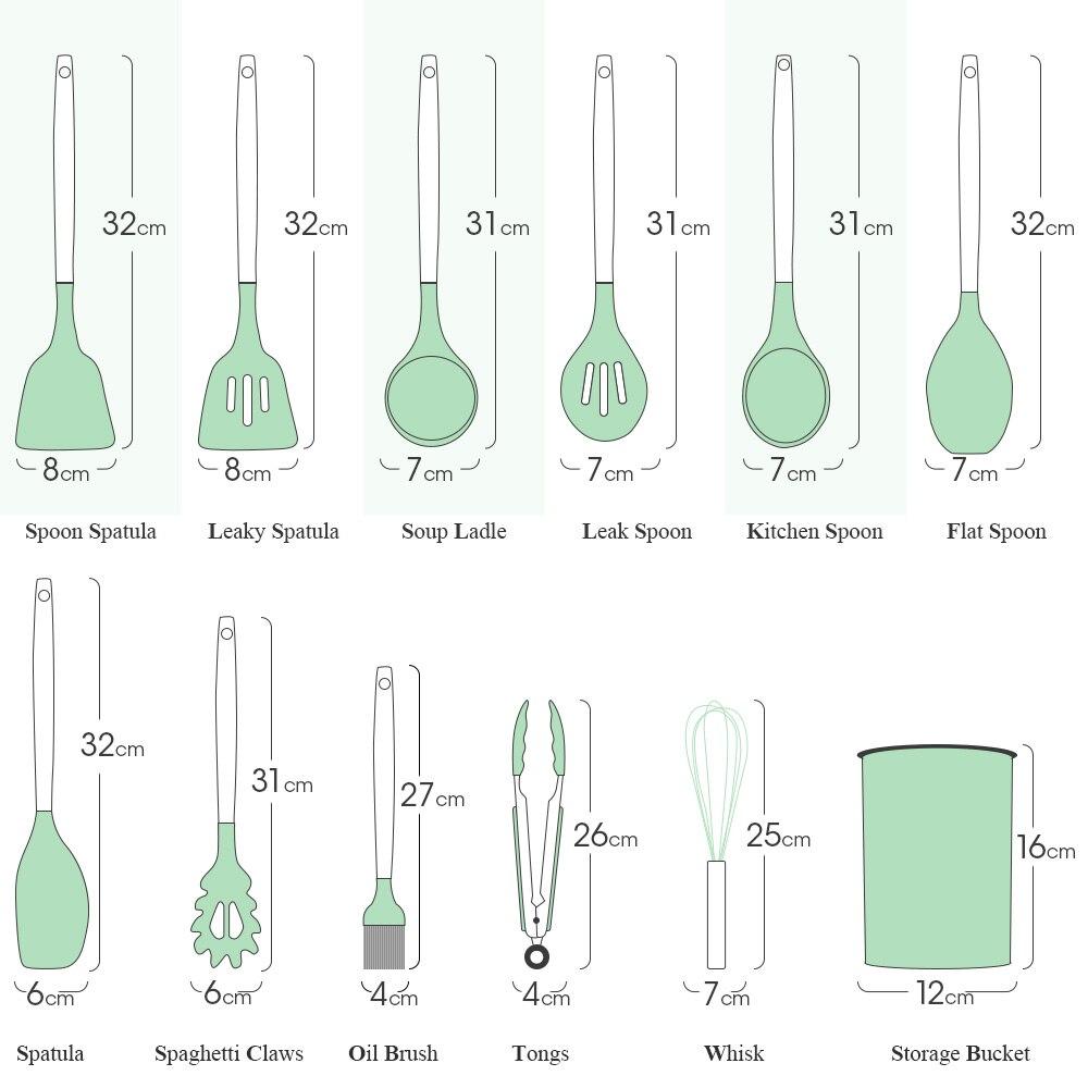 أدوات المطبخ سيليكون الطبخ مجموعة غير عصا تجهيزات المطابخ مع مقبض خشبي سهلة لتنظيف مجرفة ملعقة شوربة الطبخ أداة مجموعات