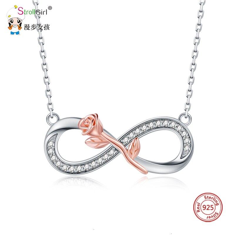 StrollGirl, collar de plata 925 auténtica rosa, collares de símbolos infinitos de lujo y colgante, joyería de moda, regalos de San Valentín, novedad