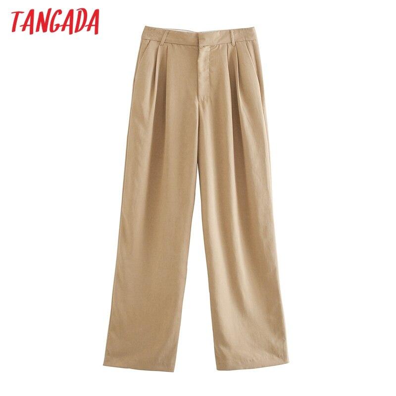 Moda de mujer Tangada pantalones de traje muy largos pantalones bolsillos botones Oficina señora pantalones caqui pantalon JE228