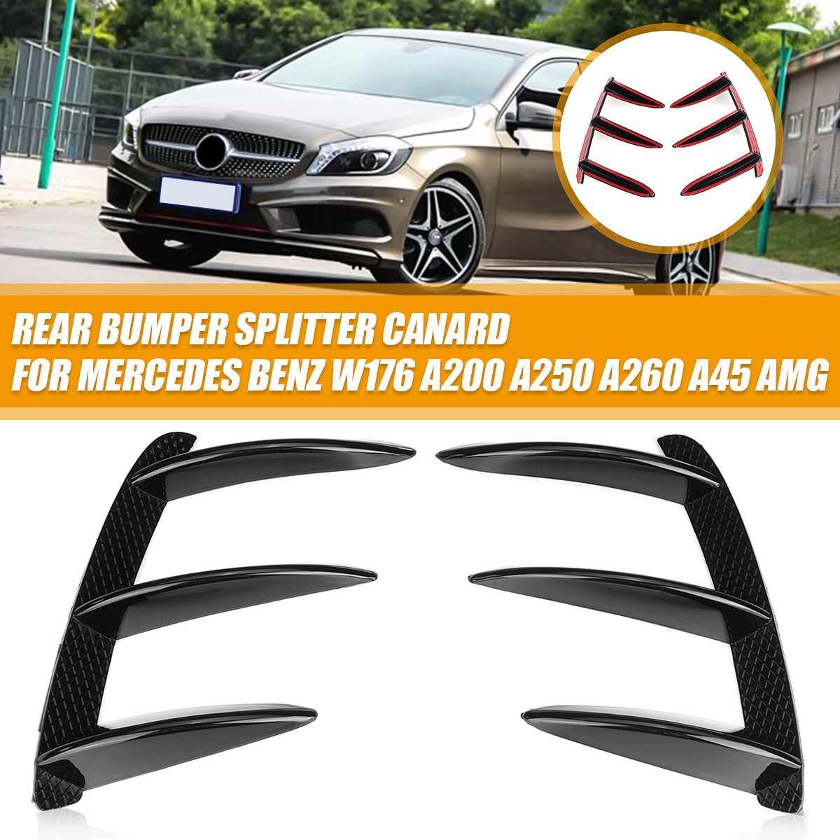Car ABS negro alerón para parachoques trasero Canards para Mercedes Benz para W176 A200 A250 A260 A45 para AMG 2 uds accesorios de reemplazo