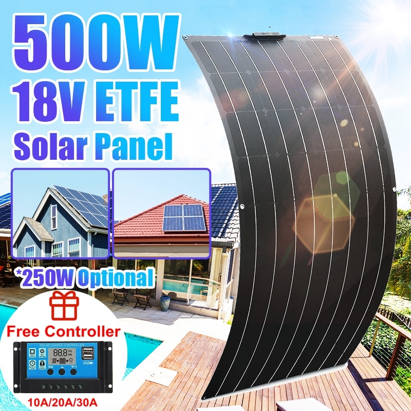 Solar Panel Kit Complete 500W 250W 18V ETFE Solar Power Bank Phone Car Battery Outdoor Charger System For Home Outdoor Camping