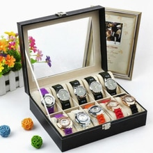 PU Leather 10 Slots Watch Box Glass Top Watch Organizer Jewelry Display Case Box with Soft Leather P