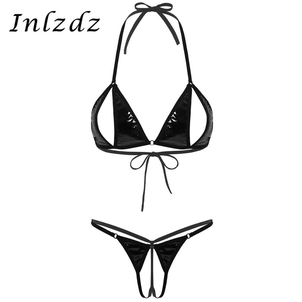 Mujer de cuero sexo Lingere traje mojado cuello Halter pezón Split Sexy Bra Top con Crotchless Tanga ropa interior