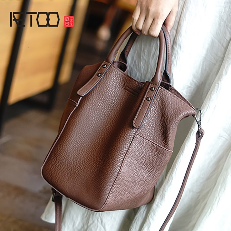AETOO Head layer Soft cowhide handbag, simple commuter oblique cross bag, literary leather bucket shoulder woman bag aetoo handmade leather wallet head layer cowhide money clip simple design male and female general