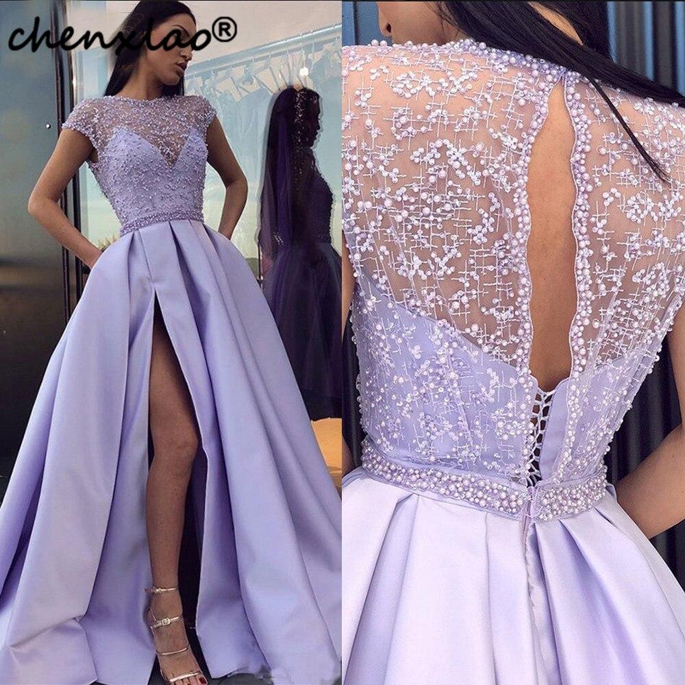 Lavender Evening Dresses Elegant Prom Dress Slit 2019 Women Satin Formal A line Party Gown robe soiree vestido de festa