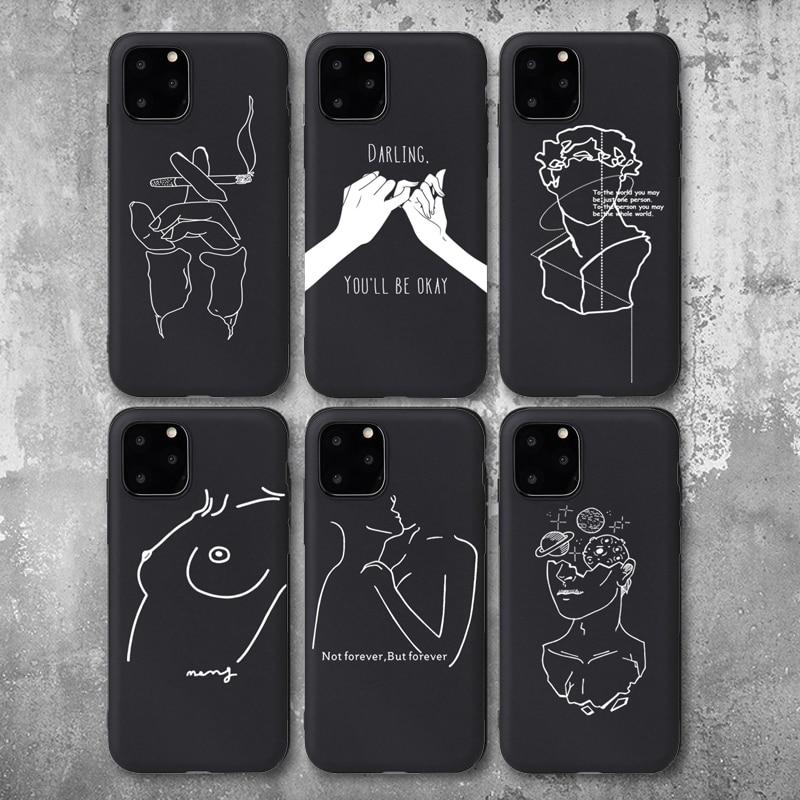 Capa de telefone para iphone 6s 7 8 plus x xr xs 11pro max 5 5S se 2020 arte abstrata amante rosto macio tpu para iphone 11 caso capa