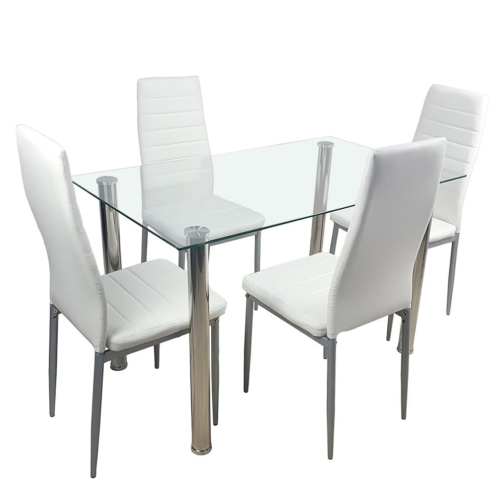 في المخزون 110 سنتيمتر الطعام الجدول مجموعة الزجاج المقسى الطعام الجدول مع 4 قطعة الكراسي شفافة و دسم الأبيض طاولة الطعام والكراسي