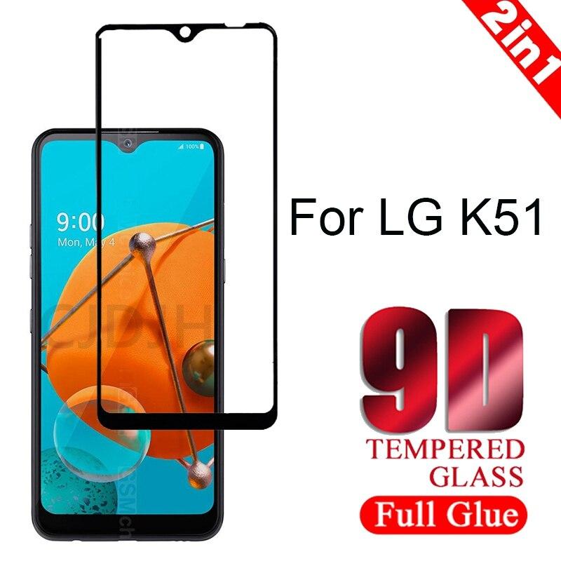 1-2 uds Protector de pantalla de cristal templado para LG K51 la cobertura completa a prueba de explosión película de calidad suprema dureza 9H para LG K51
