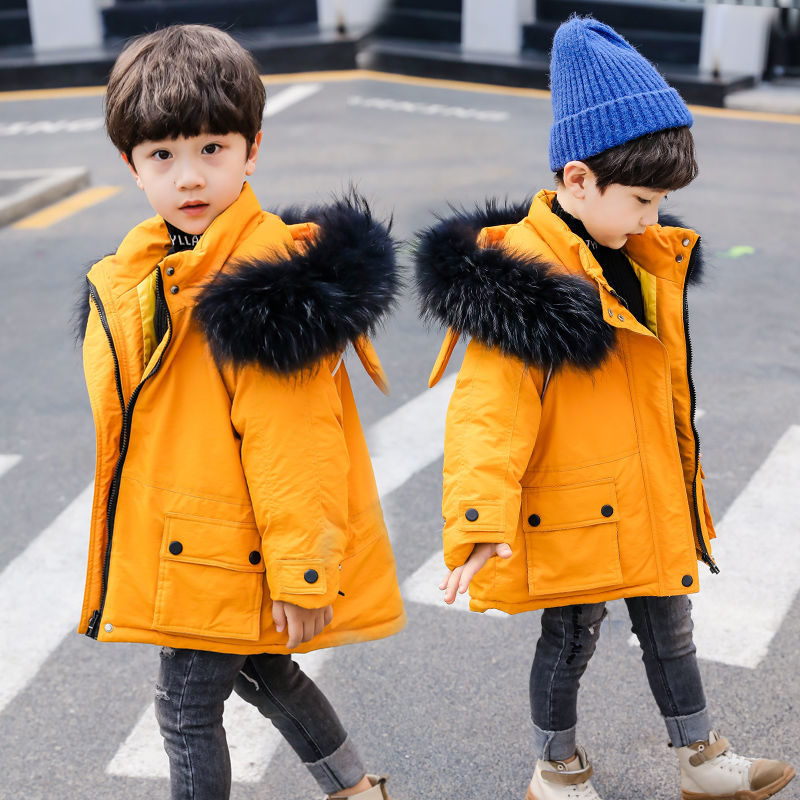 2021 Winter Children's Hooded Faux Fur Collar Cotton Jacket Coat New Kids Boys Thicken Warm Outerwear Cotton Padded Parka D219 enlarge