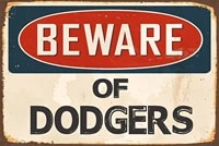 vintage style metal tin sign 8x12inch beware of dodgers warning theme props metal signs kitchen garage decor