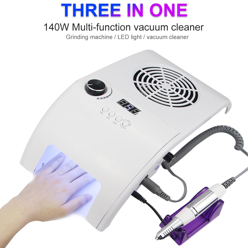 3in1 Multifunction High Efficiency 35000RMPD Nail Drill With UV LED Nail Lamp Vacuum Cleaner Manicur