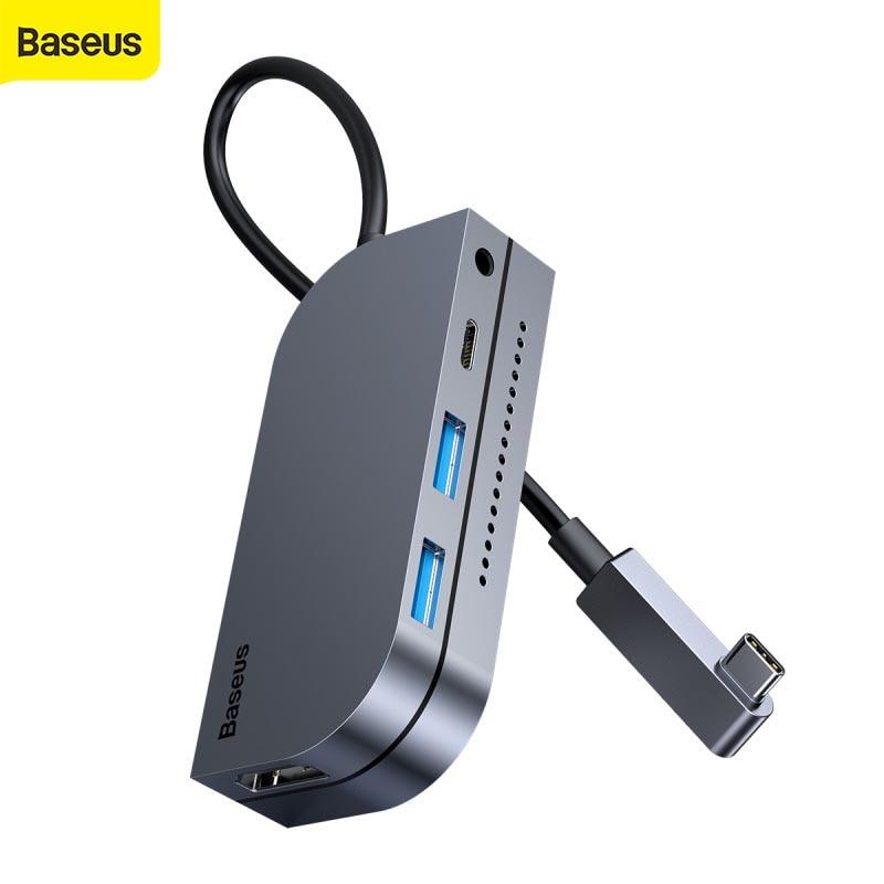 Baseus 6-in-1multi tipo-c hub converter 60w usb3.0 pd carregamento rápido 2.5mm 6 portas hdmi hub usb para computador para o telefone móvel