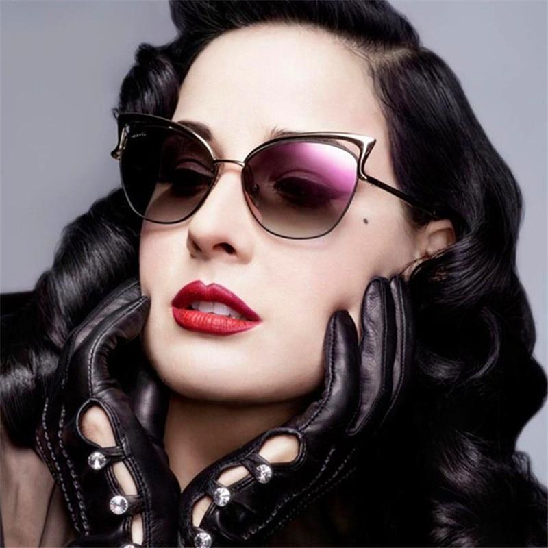GUANGDU nuevo ojo de gato gafas de sol de las mujeres, gafas de Metal Okulary Przeciws Oneczne gafas de sol para mujer UV400 lunette soleil femme