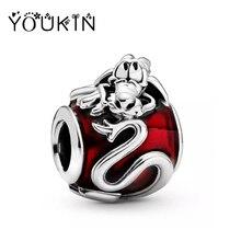 Disneys Cartoon Anime Red Enamel Mulan Mushu Beads Jewelry for Women Pulseras Fit Original Pandora Charms Bracelet Fine Gift DIY
