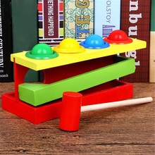 Wooden Matching Color Piling Hand Hammering Ball Box Toy Parent-child Interactive Toys Early Learnin