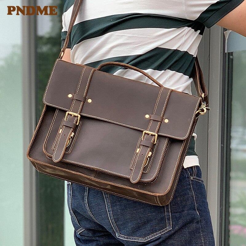 PNDME vintage crazy horse cowhide mens handbag briefcase business natural genuine leather lawyer laptop shoulder messenger bag