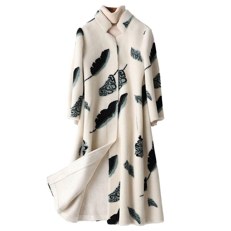 Пальто из натурального меха женская шерстяная куртка зимнее пальто женская одежда 2021 корейский принт винтажный Свободный теплый меховой Д...