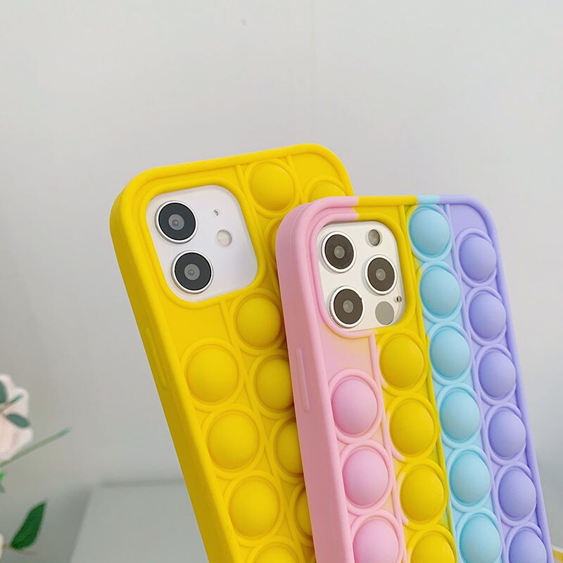 Relieve Stress Toys For iPhone 12 MiNi Case Soft Shell Silica Gel Protection Cover For iPhone 12 11 X XS 8 7 6 Pro Plus Max Case