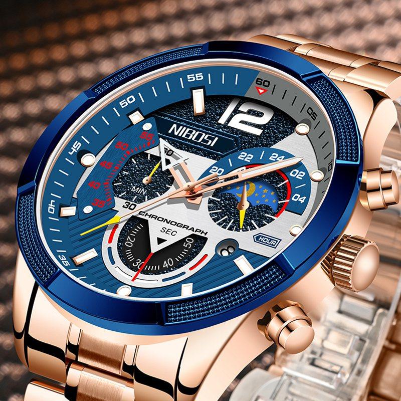 NIBOSI 2021 ساعة رجالية فاخرة كرونوغراف ساعات رياضية للرجال ساعة عسكرية للجيش ساعة رجالية كوارتز ساعة رجالية