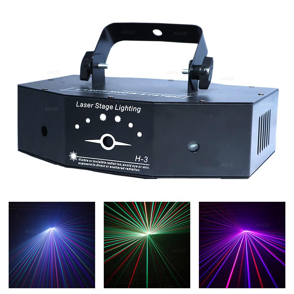 AUCD 3 رئيس 500mW RGB دوران تتحرك راي العارض أضواء الليزر DMX مصباح أشعة الصوت ديسكو عيد الميلاد DJ حفلة عرض المرحلة الإضاءة H-3