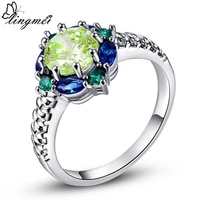 lingmei wedding band jewelry green purple red pink cz silver color ring size 6 10 for fashion women ring wholesale 26r