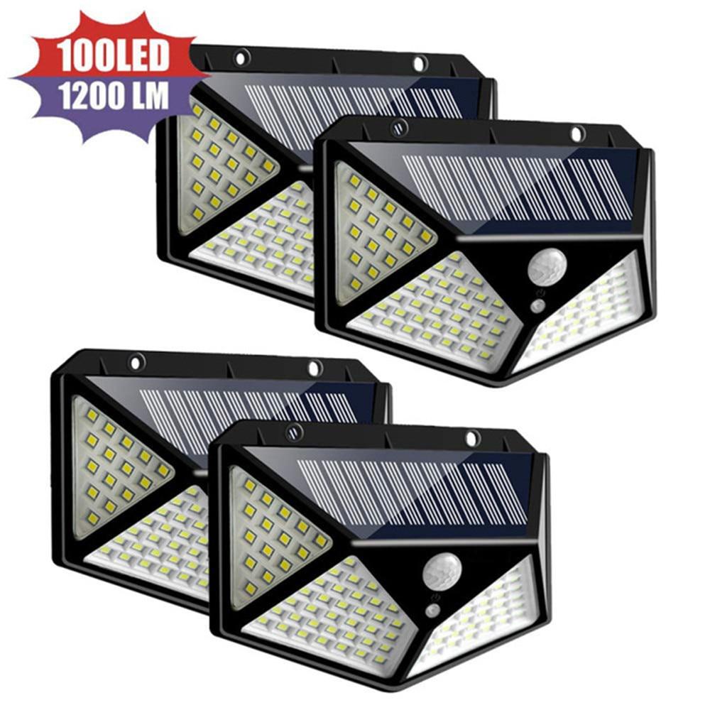 1/2/4pcs Solar Light 100 LEDs Solar Lamp PIR Motion Sensor Wall Light IP65 Waterproof Solar Garden Lights Outdoor Security Light