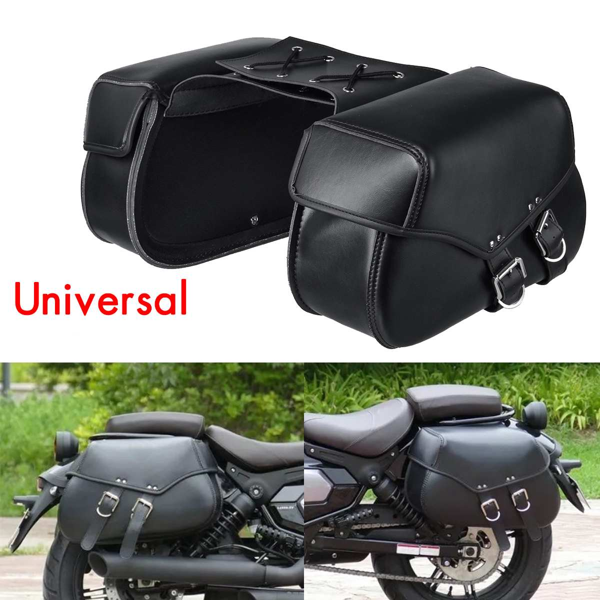 Bolsas de sillín de motocicleta a prueba de agua, herramienta alforjas de equipaje, bolsa lateral de cuero de PU para Honda/Yamaha/Suzuki