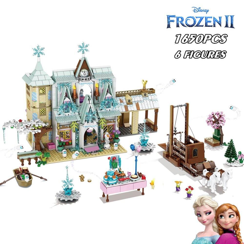 جديد 1650 قطعة ديزني المجمدة إلسا الأميرة مدينة الثلج الثلج القلعة برج اللبنات الطوب بنات أصدقاء أرقام اللعب طفل هدية