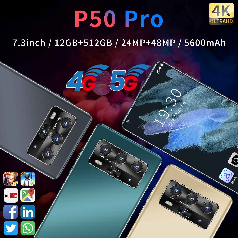 هاتف محمول huawei P50 Pro بشاشة 7.3 بوصة ، هاتف ذكي ، Snapdragon 865 ، Android 10.0 ، 12GB ، 512GB ، 5600mAh ، فتح الوجه ، إصدار عالمي ، أحدث هاتف خلوي