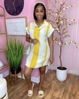 echoine striped print patchwork button shirt mini dress short sleeve dresses short sleeve