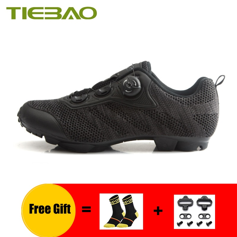 TIEBAO הרי אופני סניקרס Mtb נעלי רכיבה עף ארוג אלסטי בד עצמי נעילה סניקרס לנשימה רכיבה נעליים